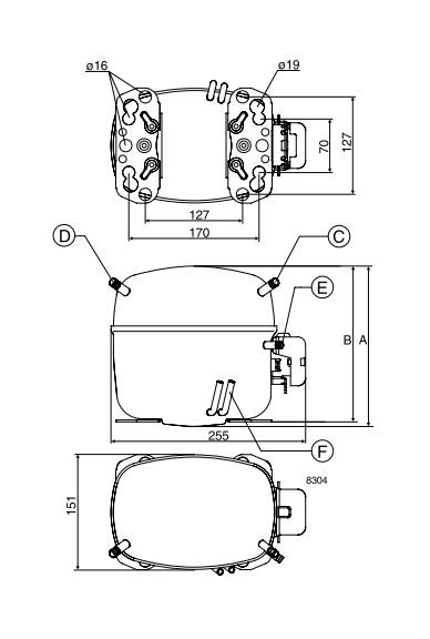 lbp5 1 - Компрессор Danfoss SC12G (R134a, 220-240 B, 50 Гц)